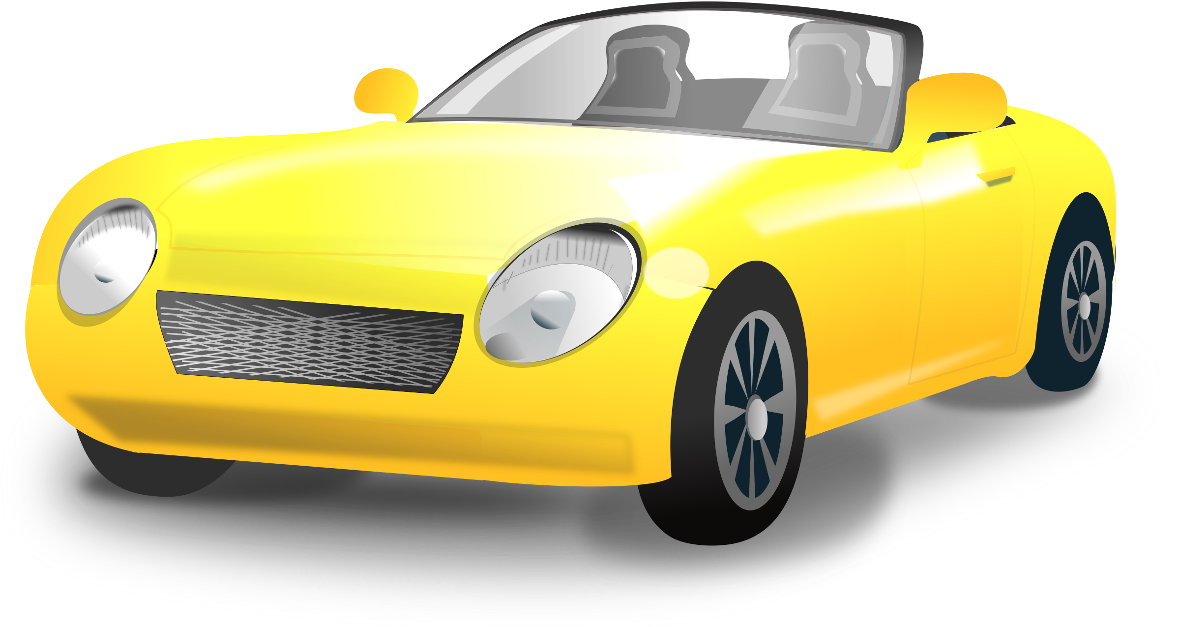 Expensive car clipart black and white download Clipart - Yellow Convertible sports car black and white download