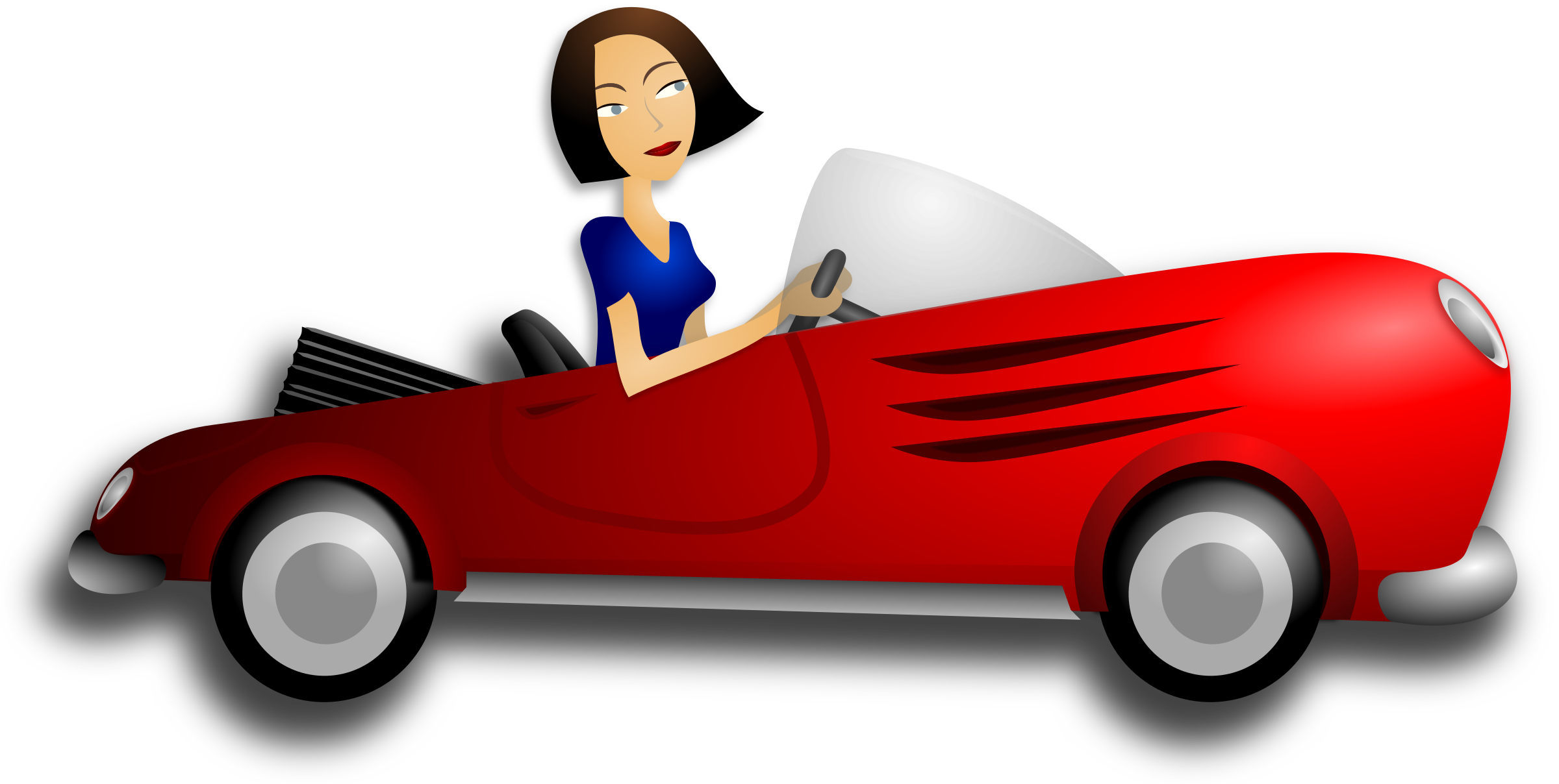 Convertible car clipart clip royalty free download Clipart - Brunette Female Driver clip royalty free download