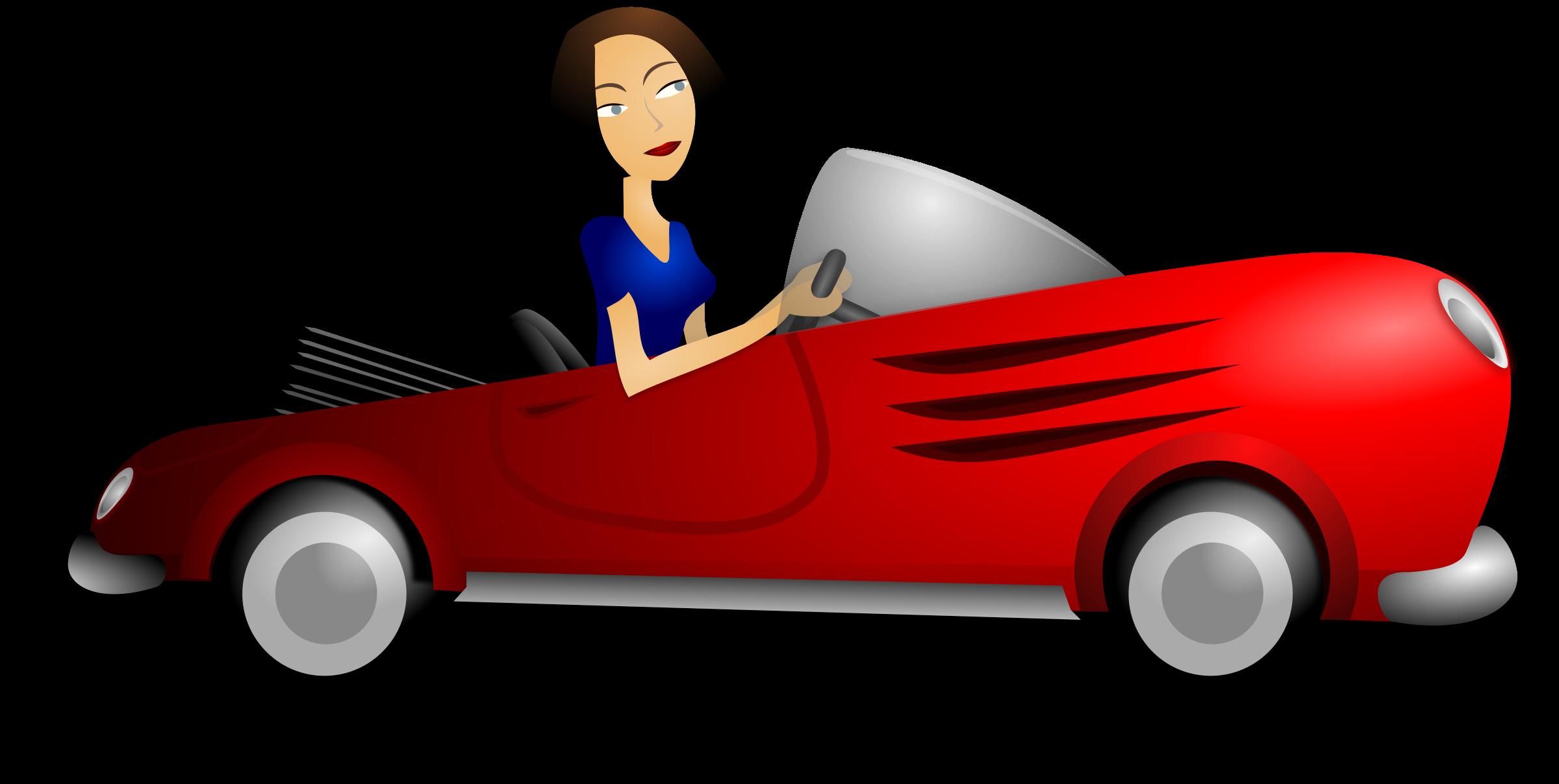 Clipart convertible car image transparent library Clipart - Brunette Female Driver image transparent library