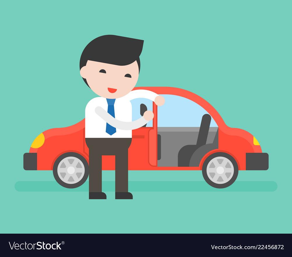Car door open clipart banner free stock Businessman or salesman open cars door for banner free stock