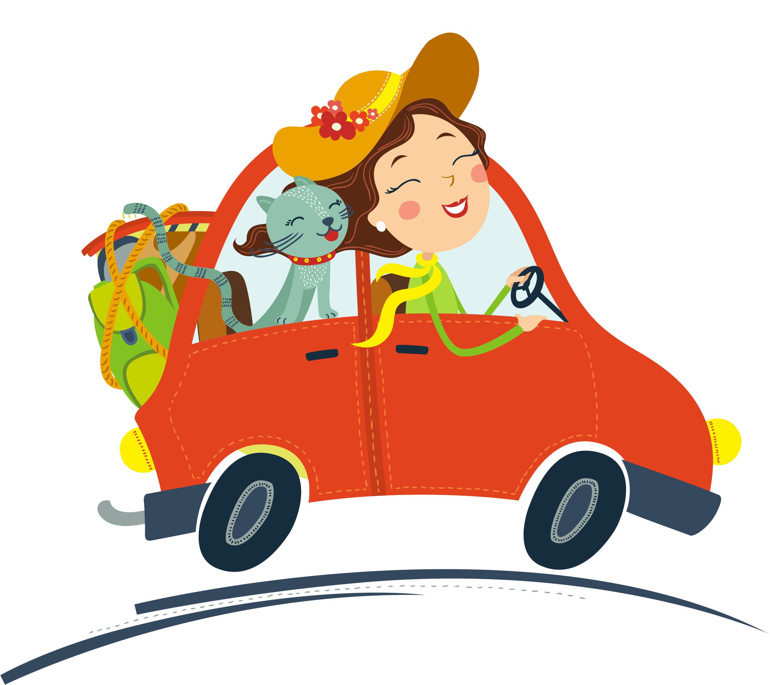 Cat driving car clipart svg library stock Cat Car Female - Cartoon red car driving cartoon creative 2967*2641 ... svg library stock