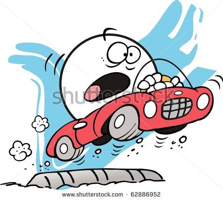 Car driving speed bump clipart