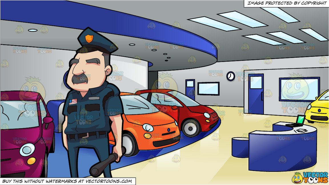 Car duty clipart clip art royalty free A Security Guard On Duty and A Showroom Full Of Cars clip art royalty free