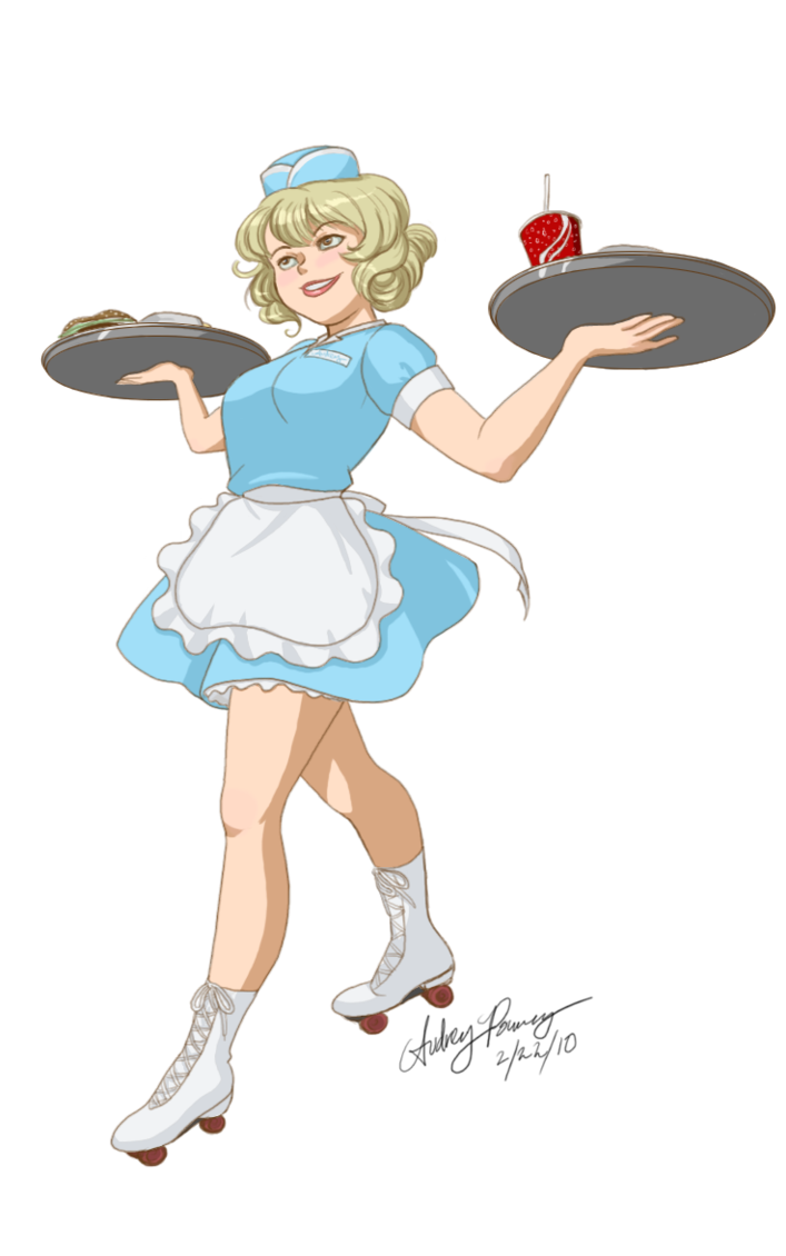 Car hop clipart clip art black and white library Carhop Waitress by Yunyin on DeviantArt clip art black and white library