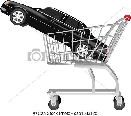 Car in shopping car clipart clip art black and white library Vector of car buying - a black auto in shopping cart - Car Buying ... clip art black and white library