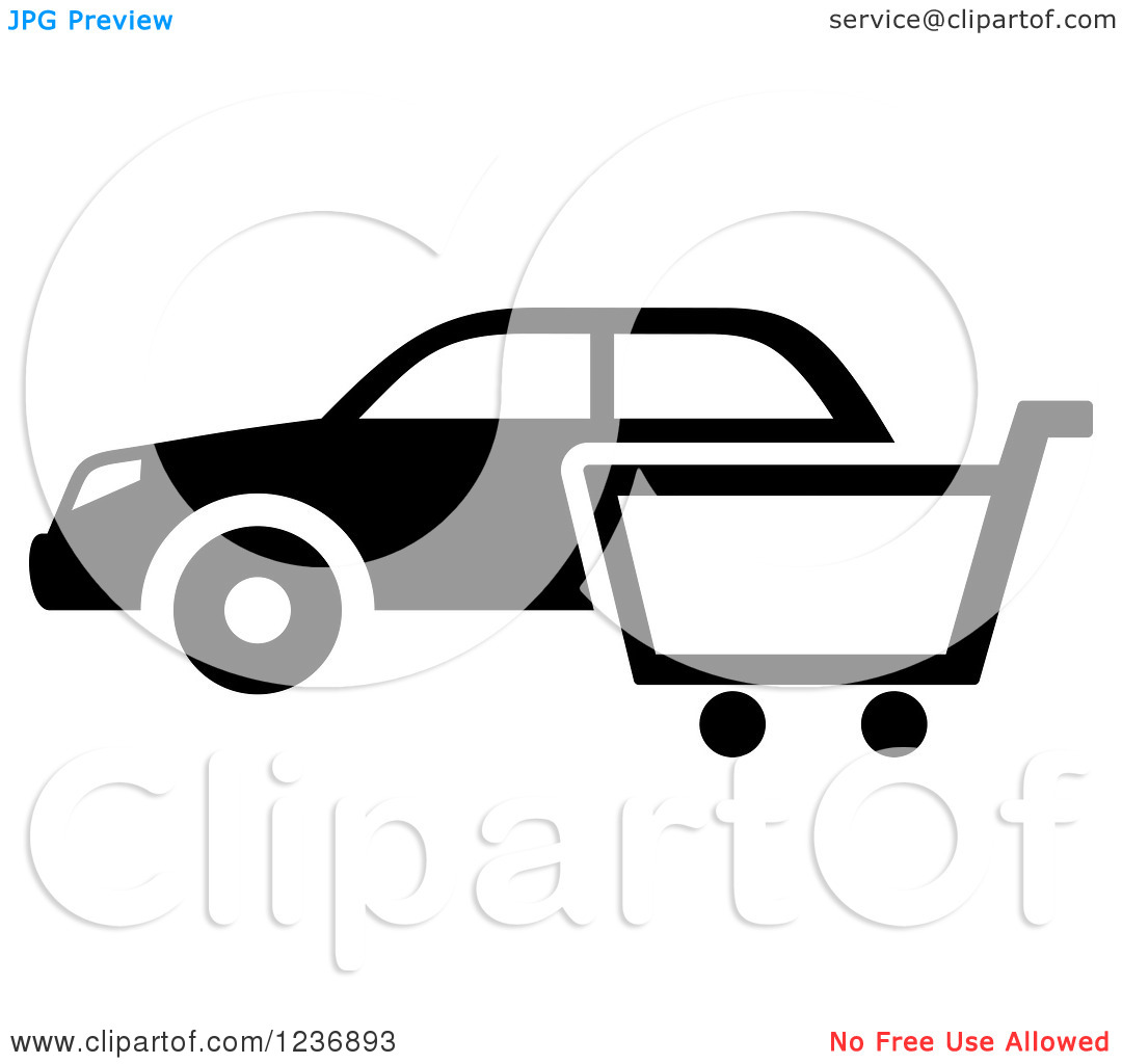Car in shopping car clipart clipart free Clipart of a Black and White Car and Shopping Cart Icon - Royalty ... clipart free