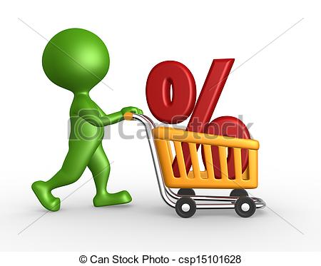 Car in shopping car clipart black and white Clip Art of Shopping car and percent sign - 3d people - man ... black and white