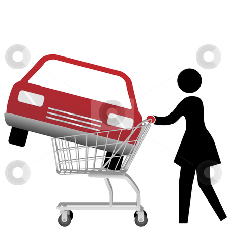 Car in shopping car clipart svg free Woman car shopper buying auto inside shopping cart stock vector svg free