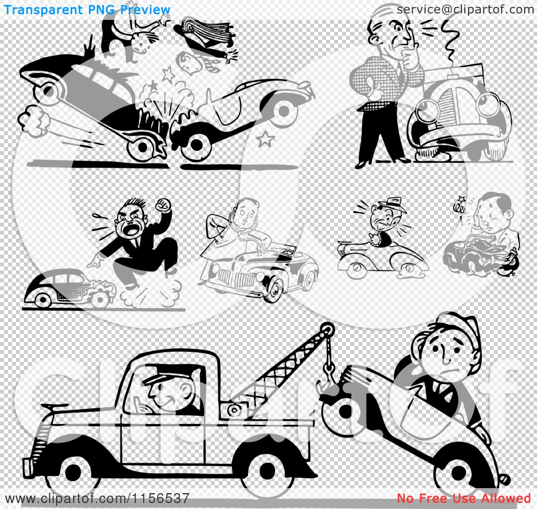 Car in tow car clipart png freeuse library Clipart of Black and White Retro Car Wrecks and Towing - Royalty ... png freeuse library