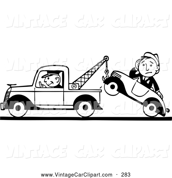 Car in tow car clipart picture black and white Clipart of a Black and White Old Fashioned Tow Truck Driver and ... picture black and white
