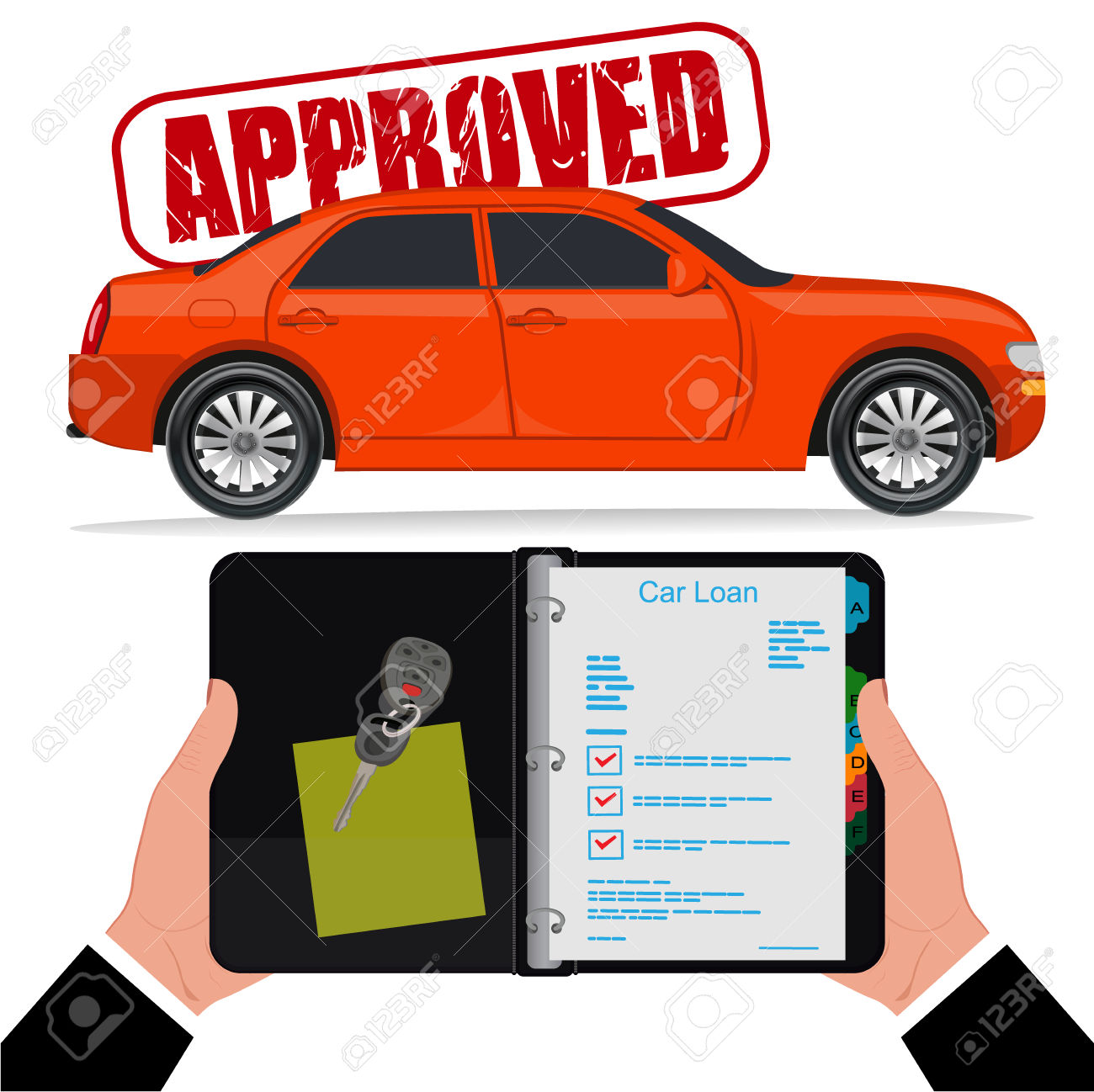 Car loan clipart png freeuse library Approved Car Loan, Vector Illustration, Flat Style Royalty Free ... png freeuse library