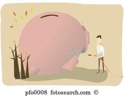 Wash illustrations and clip. Car piggy bank clipart