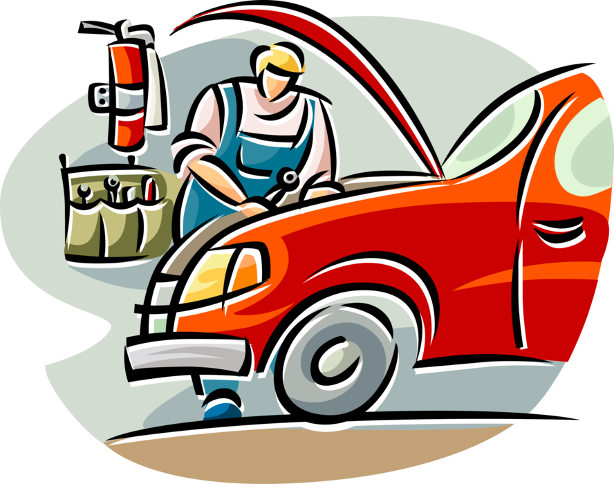 Car repair garage clipart clip art free stock Auto Repairman Works on Car - Vector Image clip art free stock