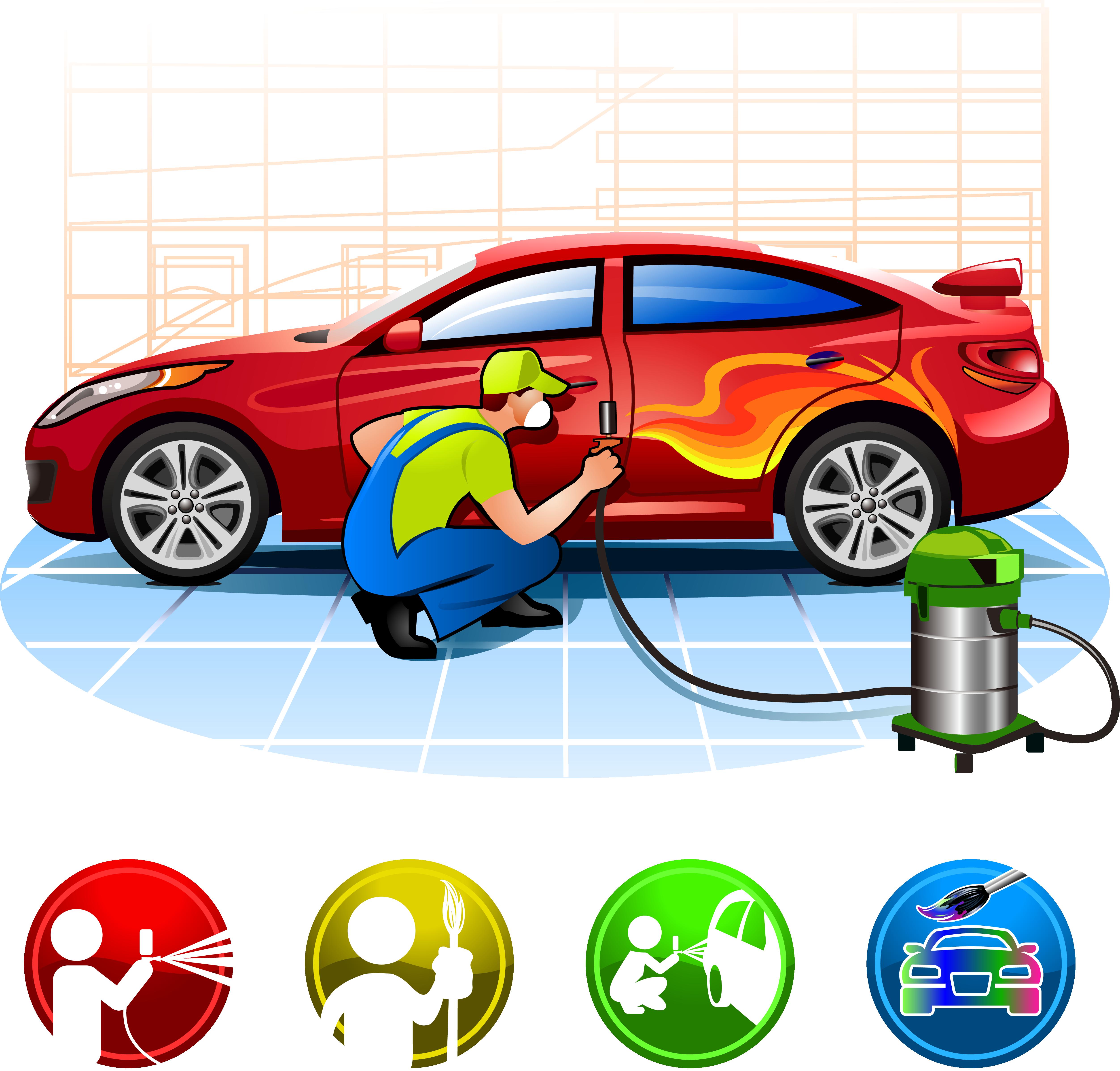 Car repair shop clipart jpg royalty free stock Car Automotive paint Automobile repair shop - Car waxing 5009*4789 ... jpg royalty free stock