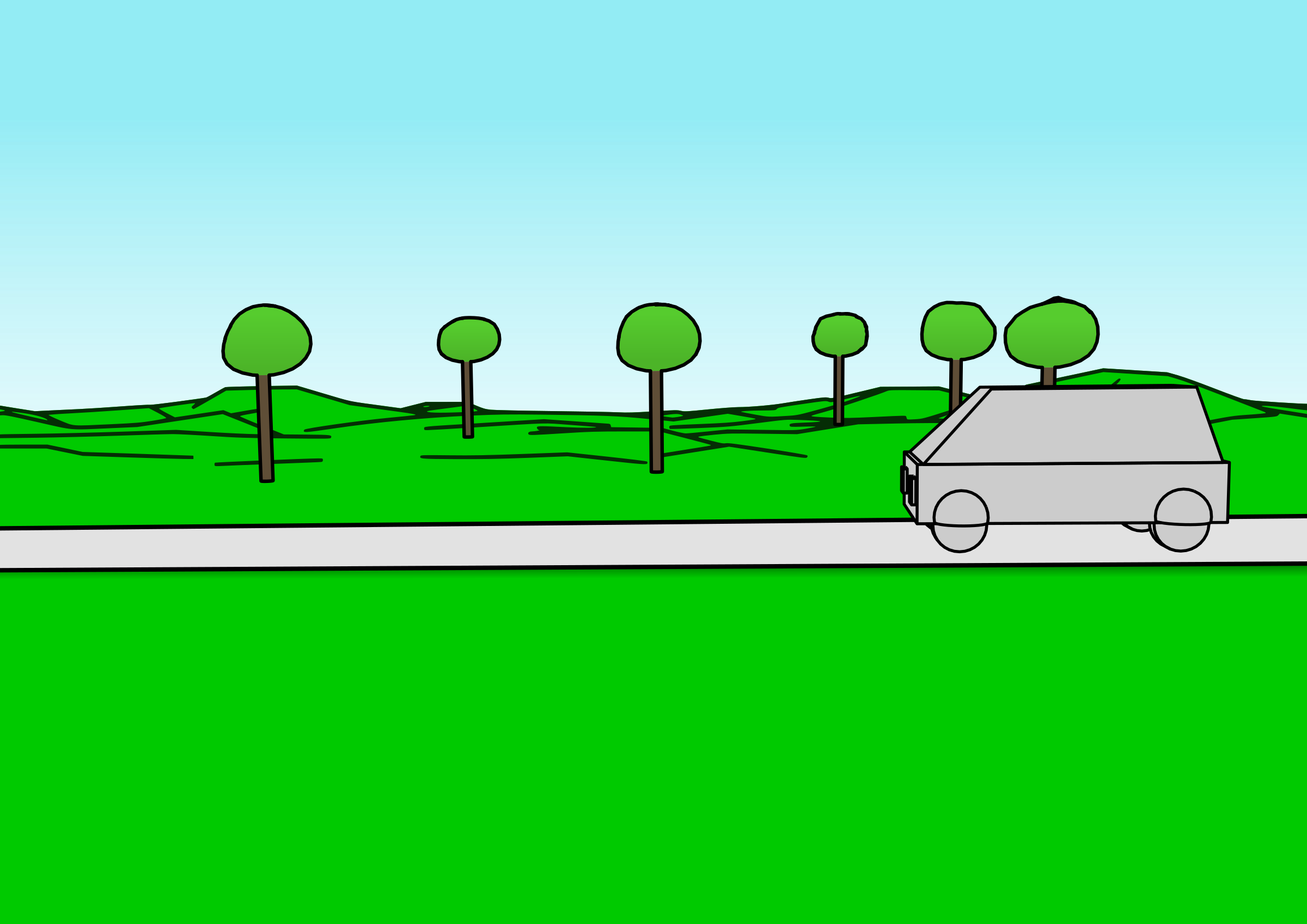 Car road clipart picture black and white library Clipart - Cartoon car passing by picture black and white library