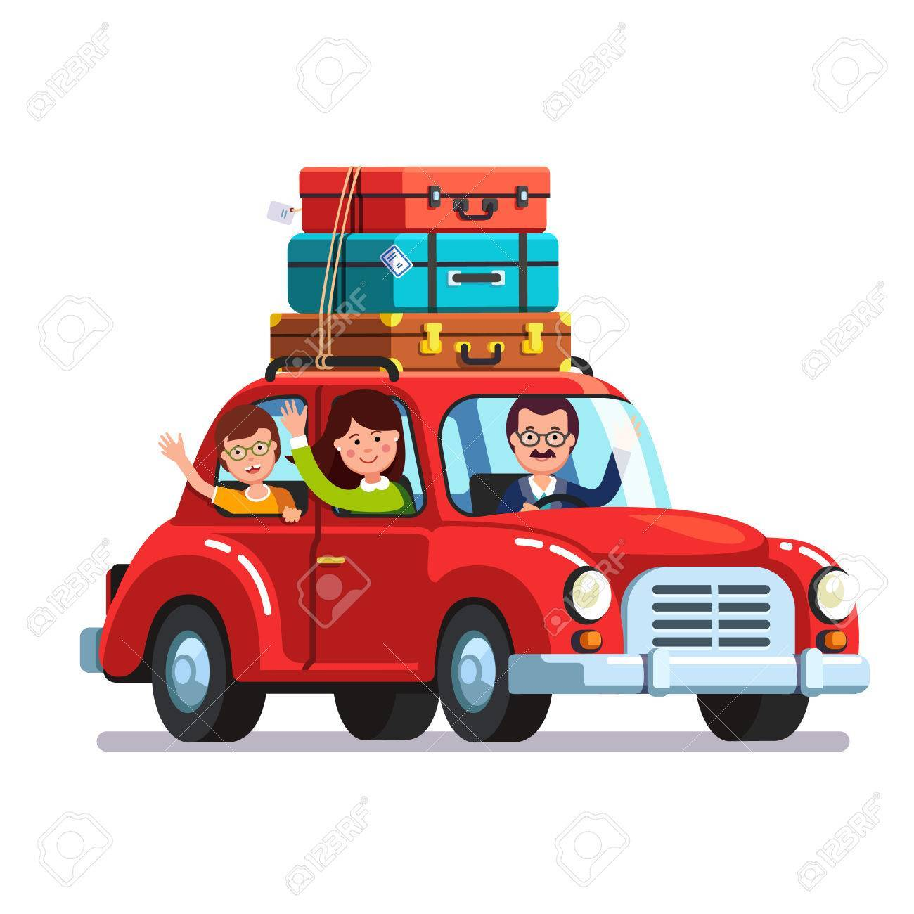 Car roof clipart clip royalty free download Family traveling by car with luggage bags on roof » Clipart Portal clip royalty free download