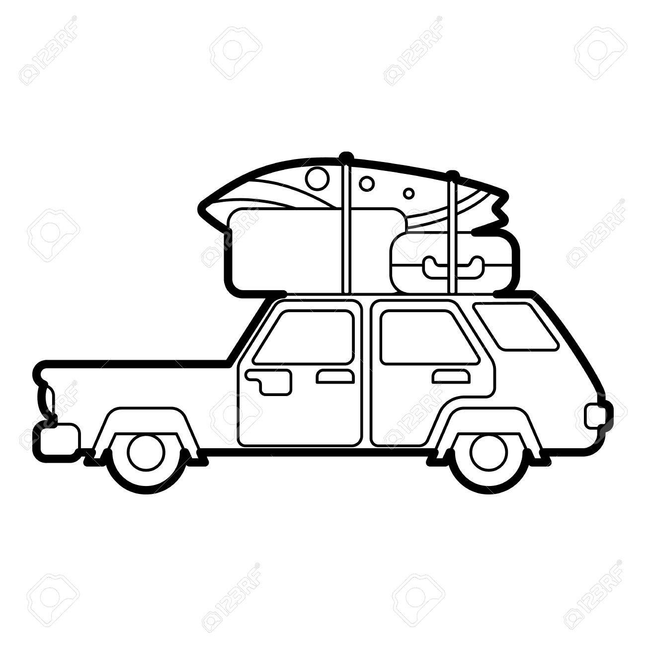 Car roof clipart image download At Car With Luggage Clipart 64092219 Hatchback Roof Rack Top Cargo ... image download