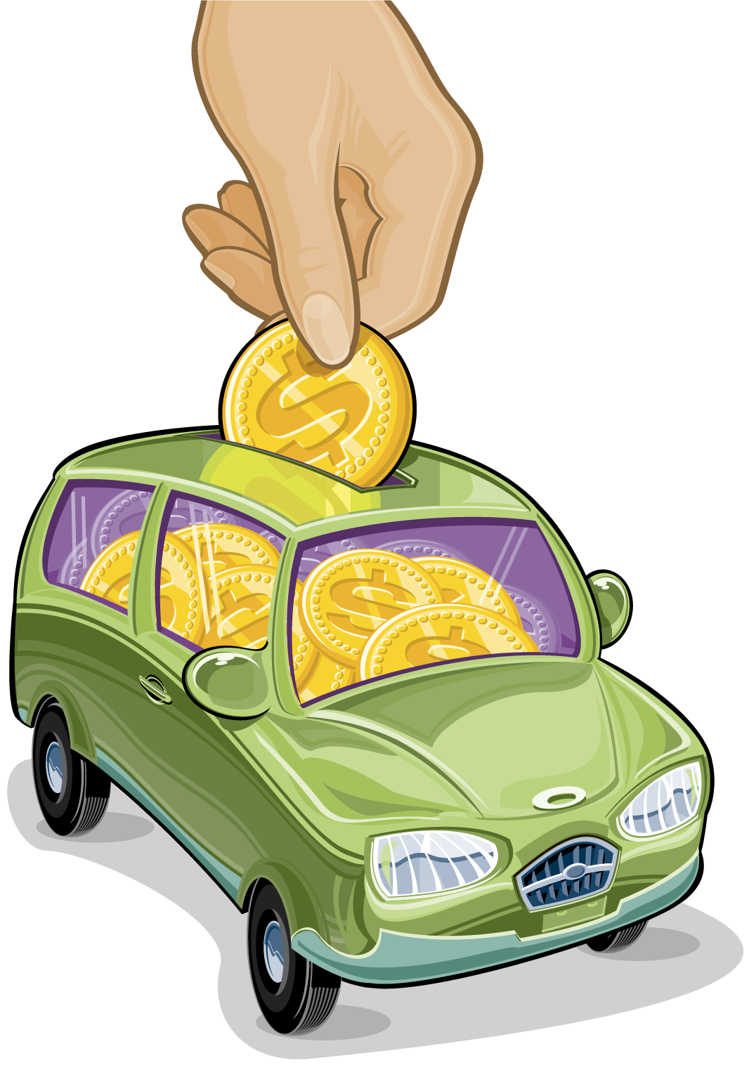 Car with money gas clipart vector Buy My First Car | DriveTime Advice Center vector