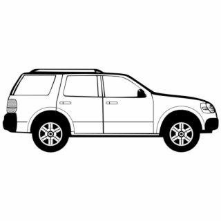 Car side profile clipart black and white