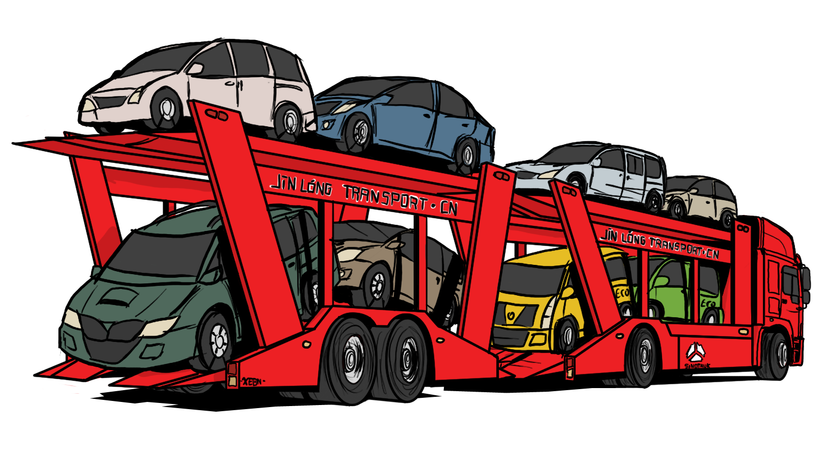 Car transporter clipart banner freeuse library Car carrier trailer Transport Vehicle China National Heavy Duty ... banner freeuse library