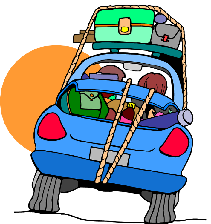 Car on the road clipart
