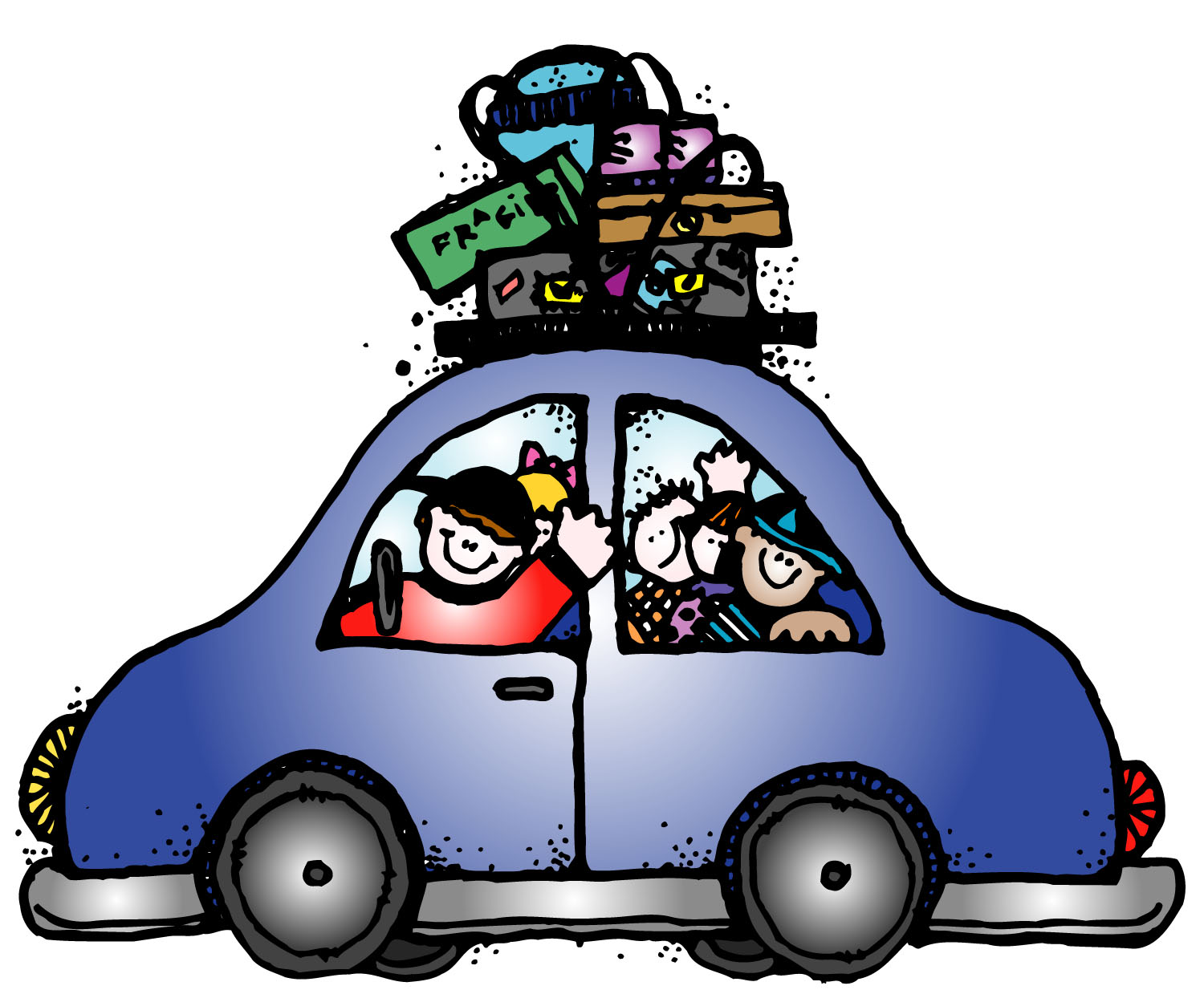 Car trip clipart cartoon blue car clip black and white library Blue Car Road Trip Clipart - Cliparts and Others Art Inspiration clip black and white library