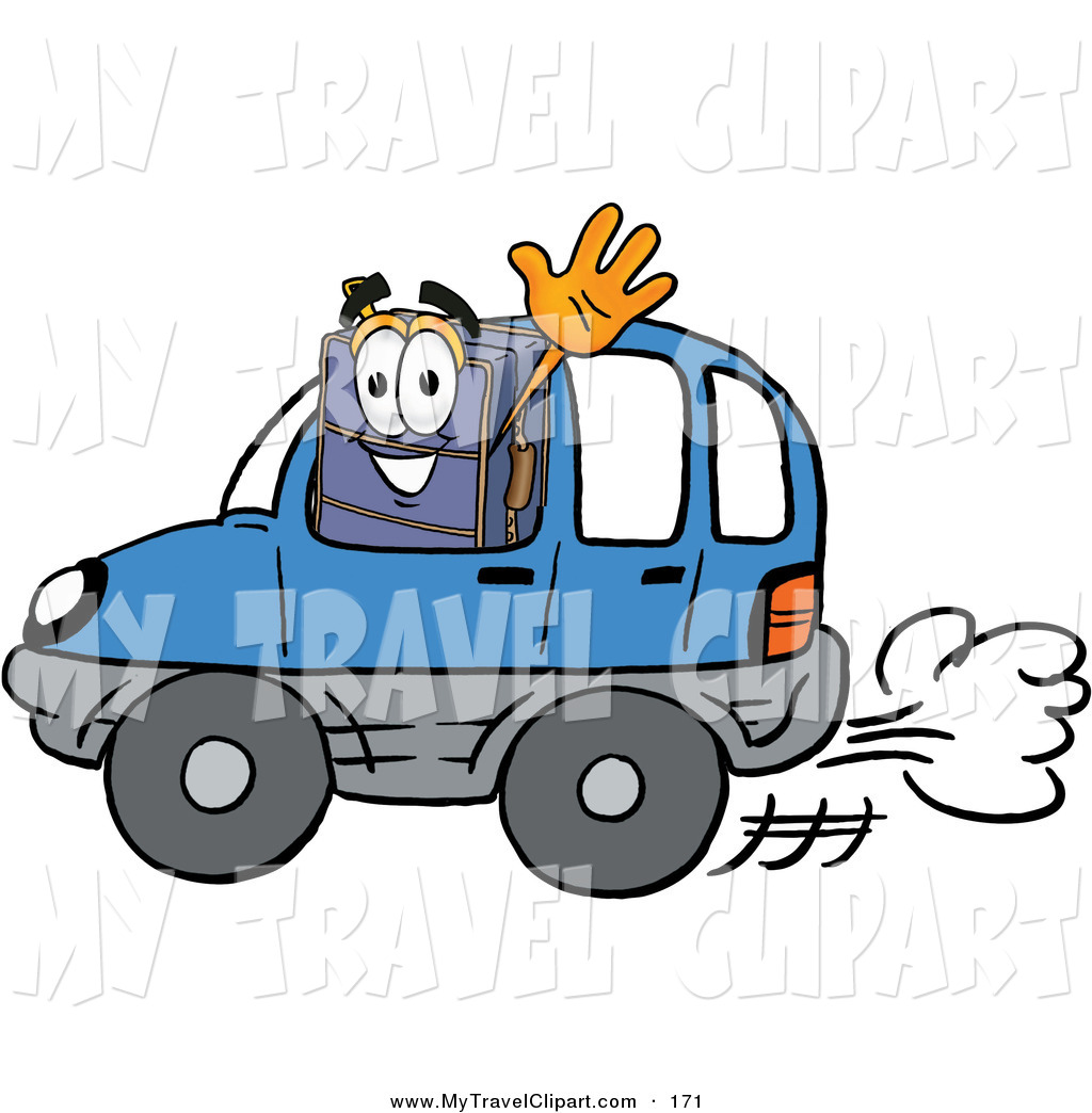 Clipart of a Suitcase Cartoon Character Driving a Blue Car and ... banner black and white