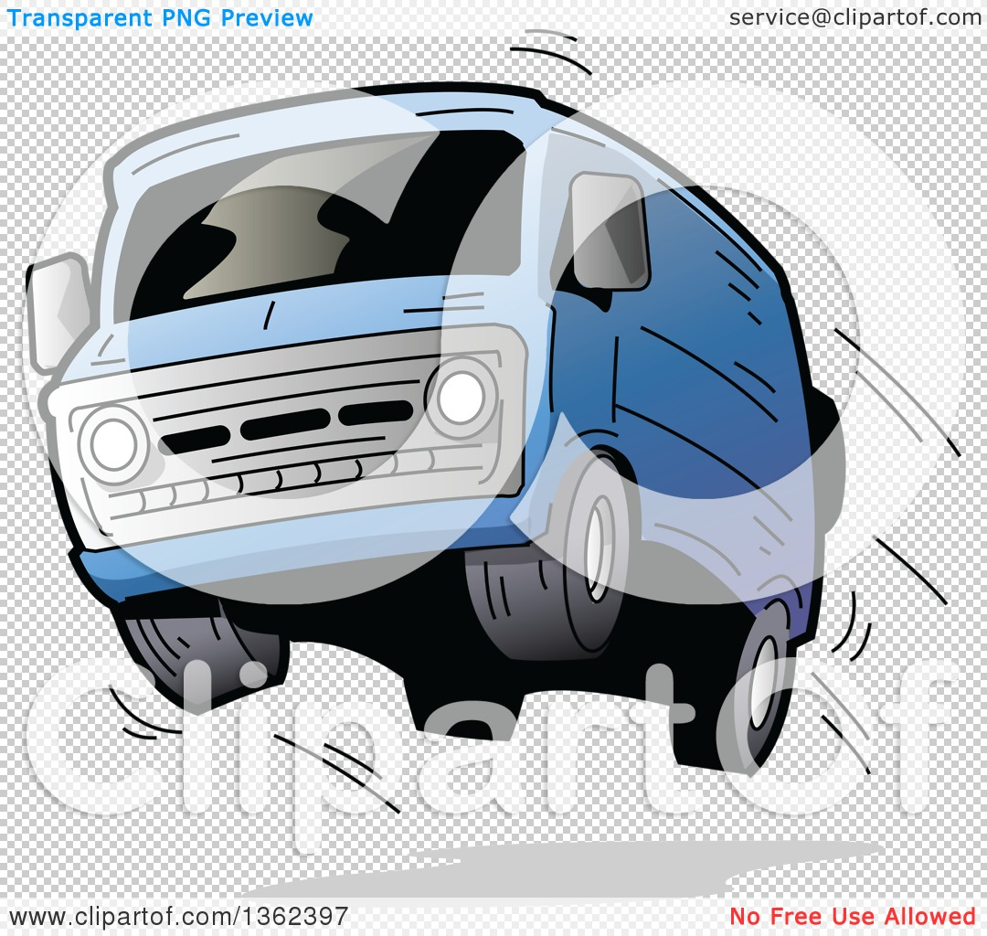Clipart of a Cartoon Blue Van with Dark Window Tint, Catching Air ... royalty free