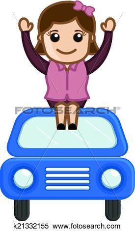 Car trip clipart cartoon blue car jpg freeuse Clipart of Happy Girl Sitting Over the Car k21332155 - Search Clip ... jpg freeuse
