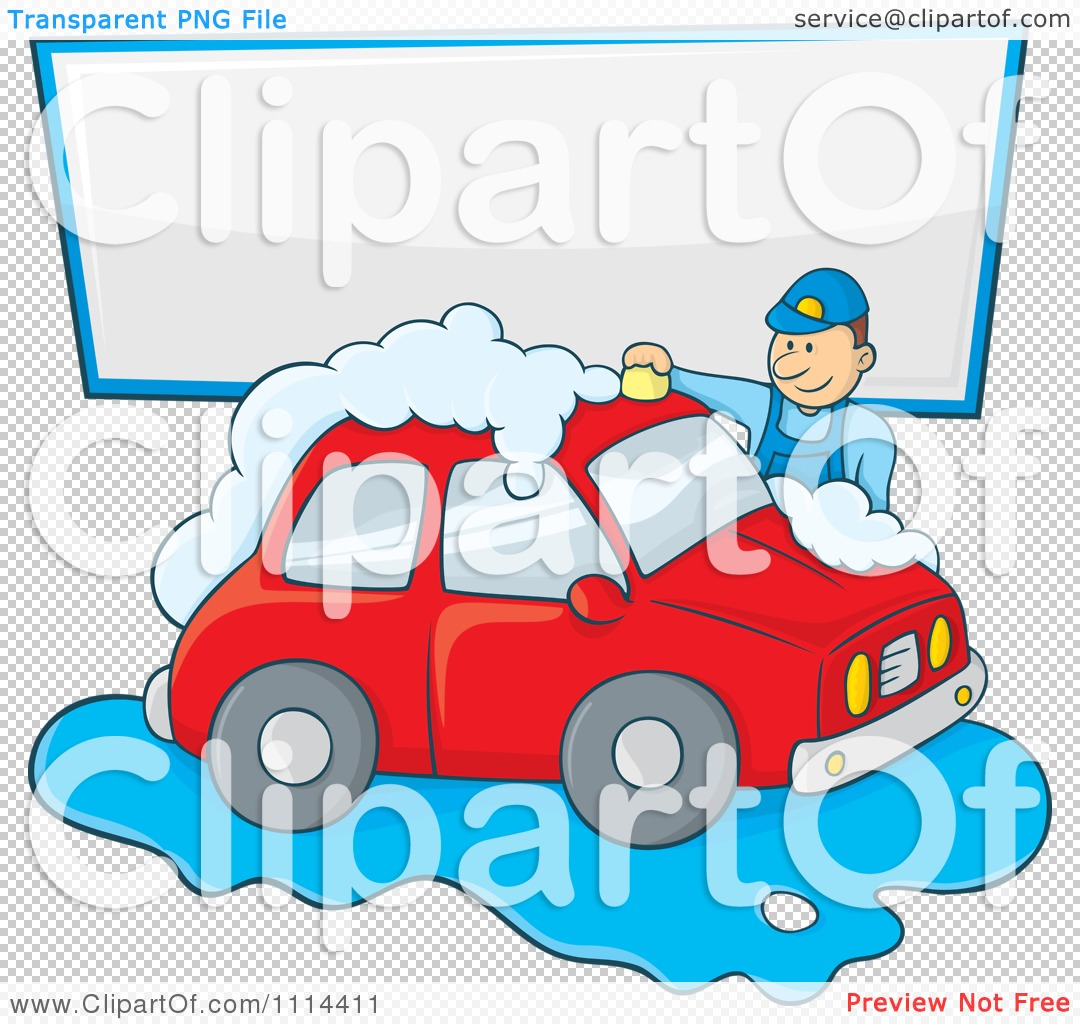 Car wash car clipart png download Clipart Man Washing A Red Car Under A Sign - Royalty Free Vector ... png download