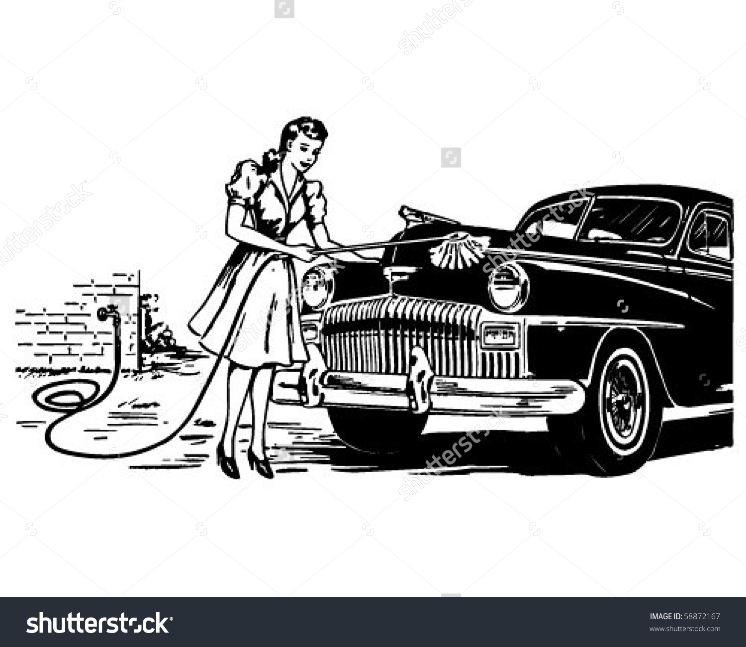 Car wash car clipart graphic library Hand Car Wash Retro Clip Art Stock Vector 58872167 - Shutterstock graphic library