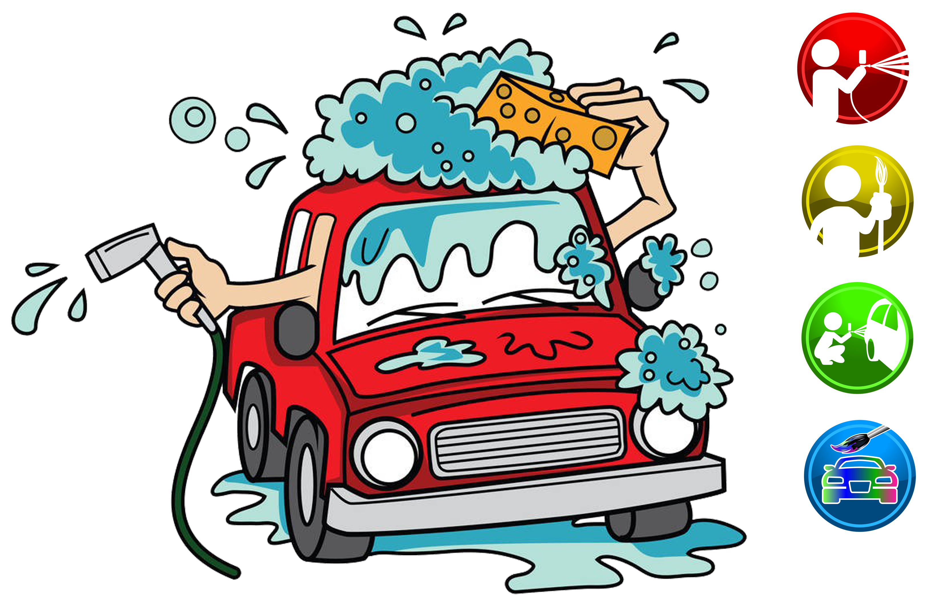 Car detailing clipart vector royalty free Car wash Cartoon Clip art - Cartoon car wash advertisement 3248*2126 ... vector royalty free