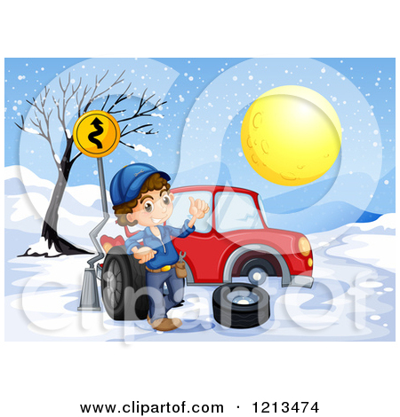 Car with snow car clipart banner download Cartoon of a Mechanic Boy with a Tire Beside a Car with a Flat in ... banner download