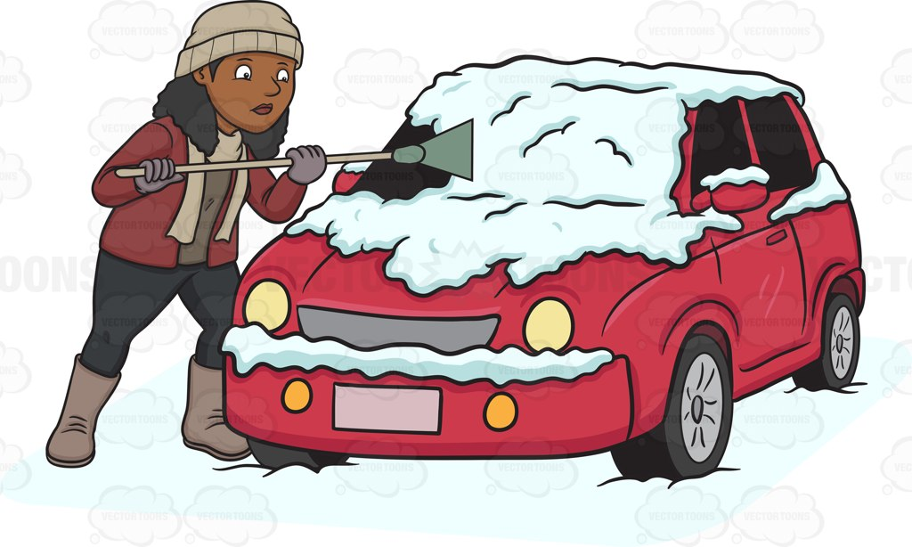 Car with snow car clipart png download A Black Woman Cleaning The Snow Off Her Car Cartoon Clipart png download