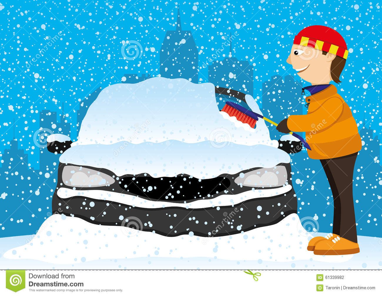 Car with snow car clipart transparent library Car In Snow Cartoon Stock Photography - Image: 17587852 transparent library