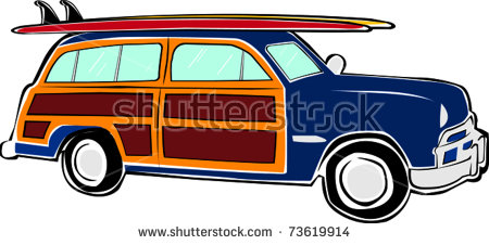 Woody stock photos royalty. Car with surfboard clipart