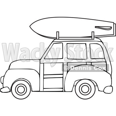 Of a black and. Car with surfboard clipart