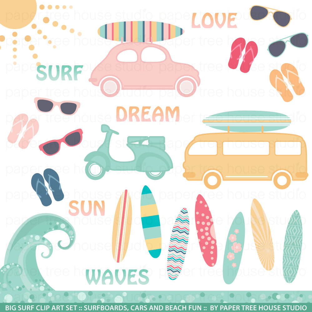Car with surfboard clipart banner stock Clip Art Set Big Surf Sunshine Surfboards Cars Vans banner stock