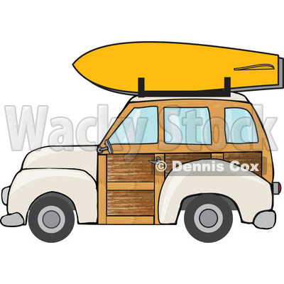 Royalty free rf illustration. Car with surfboard clipart