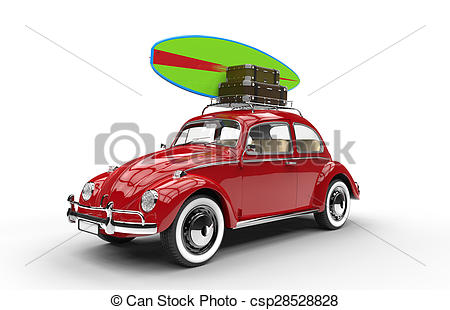 Car with surfboard clipart clip royalty free library Clip Art of Old red car with surfboard and luggage isolated on a ... clip royalty free library