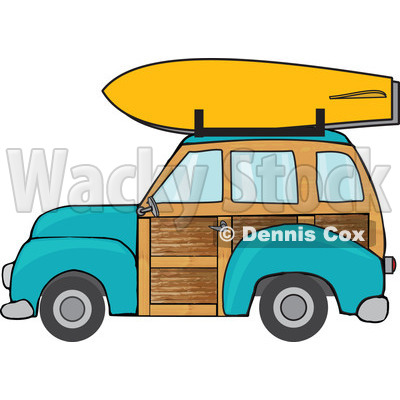 Car with surfboard clipart. Woody and kid turquoise