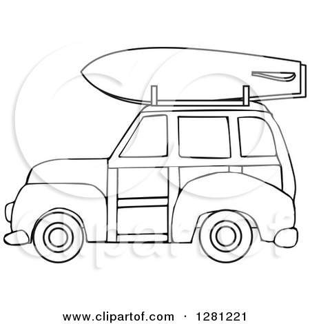 Car with surfboard clipart. Royalty free rf woody