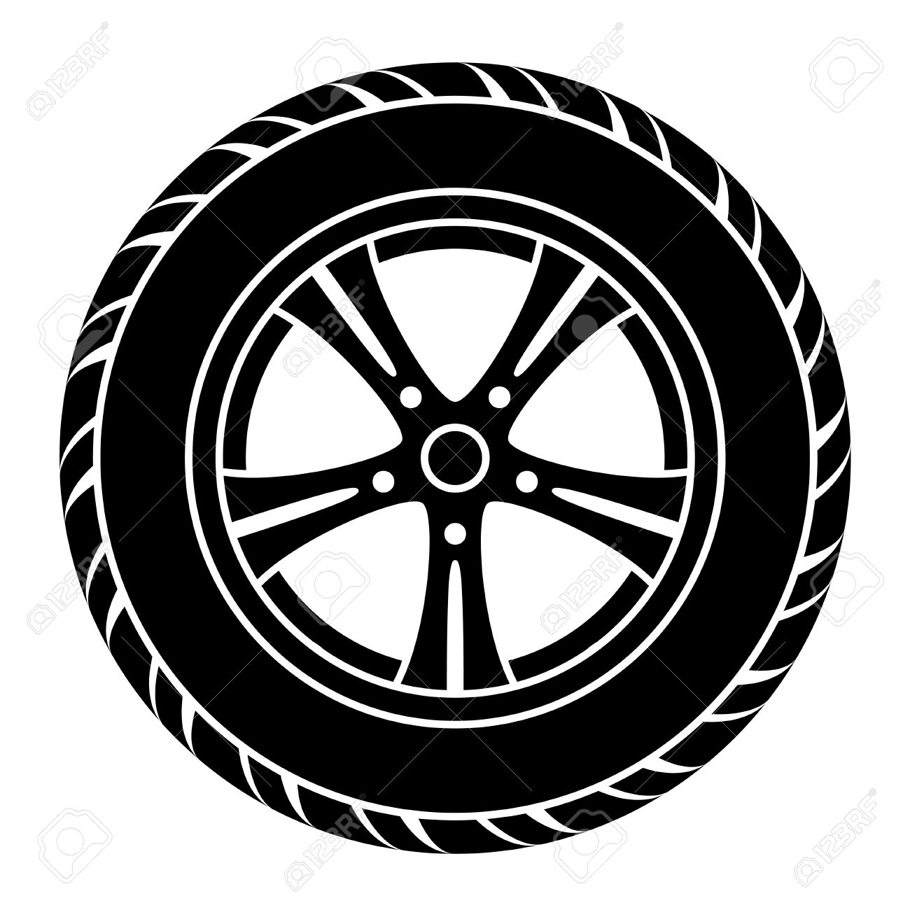 Car with tires clipart black and white clipart library library Vector car wheel black white symbol » Clipart Station clipart library library