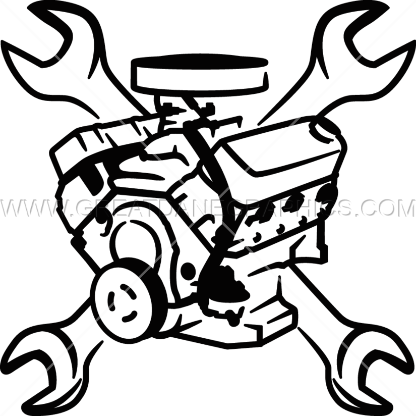 Car with wrench clipart graphic freeuse library Engine Block & Wrenches | Production Ready Artwork for T-Shirt Printing graphic freeuse library