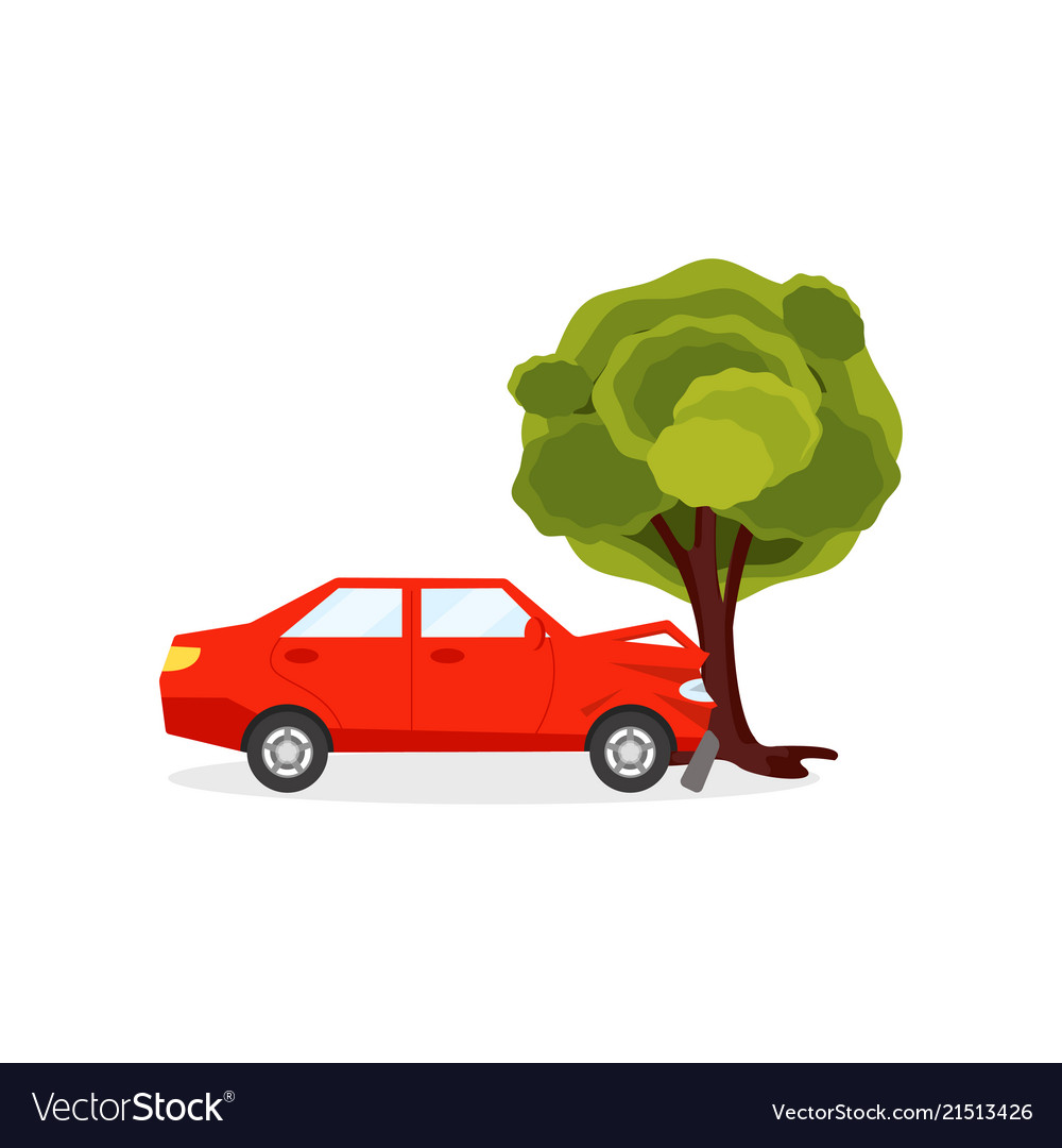 Car wreck green clipart clip art freeuse library Red car crashed into big green tree auto accident clip art freeuse library