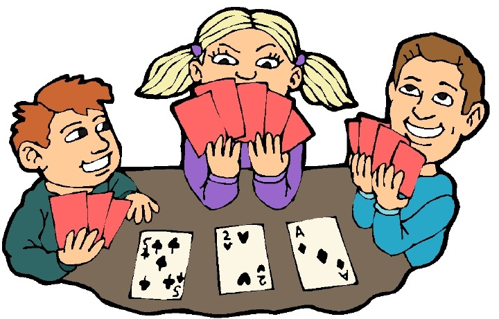 Playing cards at the beach clipart
