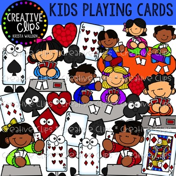 Card playing clipart vector free stock Kids Playing Cards: Game Clipart {Creative Clips Clipart} vector free stock