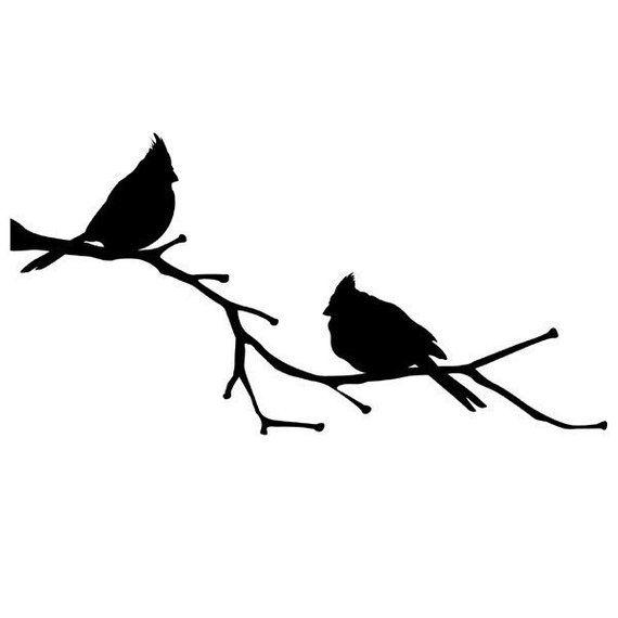 Cardinal on branch clipart clip transparent library Cardinal Birds on a Branch, vinyl wall decal, Cardinal Decor, State ... clip transparent library