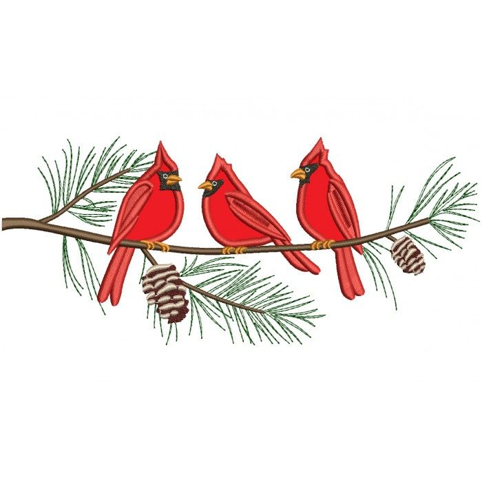 Cardinal on branch clipart picture black and white library Three Cardinal Birds on a Tree Branch Applique Machine Embroidery ... picture black and white library