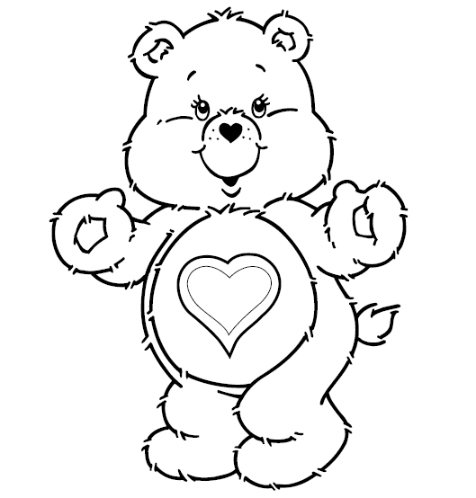 Care bears clipart black and white jpg black and white stock Care Bears Coloring Pages | Learn To Coloring jpg black and white stock